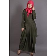 Pleated travel maxi dress - Olive Green abaya