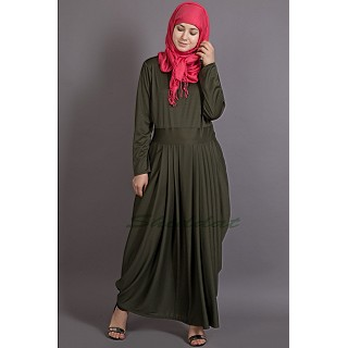 Pleated travel maxi dress - Olive Green abaya