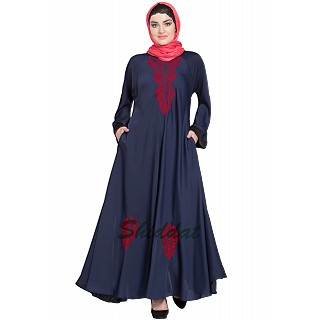 Embroidered Umbrella cut Nida abaya- Navy blue-Red