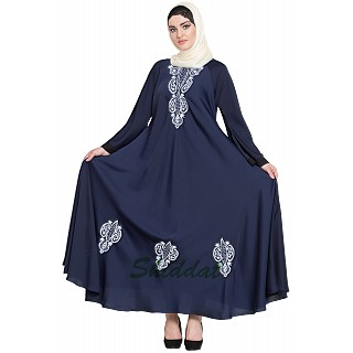 Embroidered Umbrella cut Nida abaya- Navy blue-White