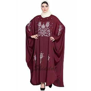Designer Kaftan abaya with embroidery work- Maroon