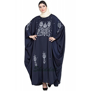 Designer Kaftan abaya with embroidery work- Navy Blue