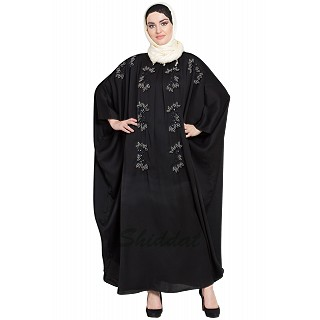 Designer Kaftan abaya with Handwork- Black