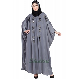 Designer Kaftan abaya with Handwork- Grey