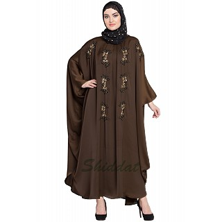 Designer Kaftan abaya with Handwork- Brown