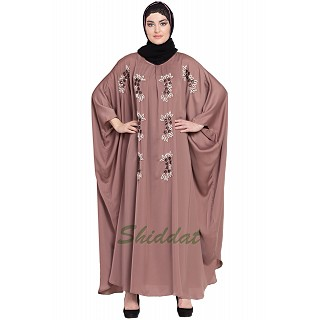 Designer Kaftan abaya with Handwork- Rose Golden