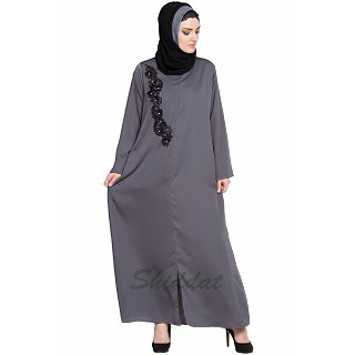 Designer Nida abaya with Patchwork- Grey