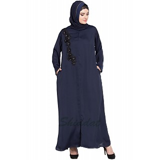 Designer Nida abaya with patchwork- Navy Blue