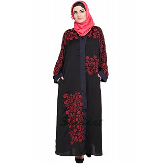 Front open embroidered Dubai abaya- Black