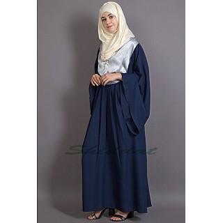 Designer Bohemian abaya- Navy Blue-Silver