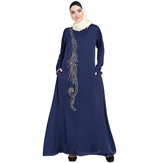 Umbrella abaya with simple stonework- Navy Blue