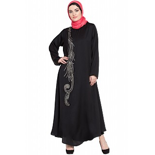 Umbrella abaya with simple stonework- Black