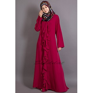 Casual  abaya- Wine colored with front frill