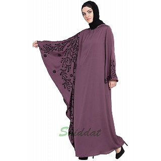 Embroidered abaya with Butterfly sleeves- Plum color
