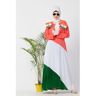 Tricolor asymmetrical Abaya
