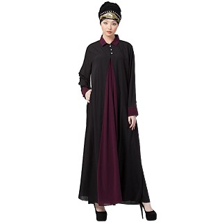 Collared Casual abaya - Black-Wine color