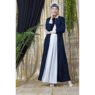 Collared Casual abaya - Navy Blue-White