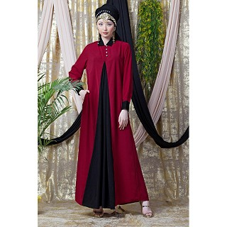 Collared Casual abaya - Red-Black color