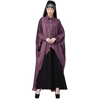 Designer Shirt style Kaftan with inner abaya- Purple-Black