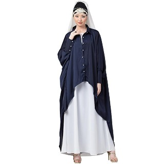 Designer Shirt style Kaftan with inner abaya- Navy Blue-White
