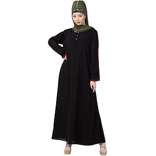 Black Casual abaya with piping at sleeves