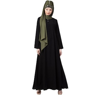 Black Casual abaya with a complementary Hijab