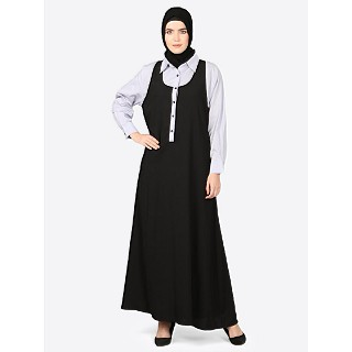 Executive abaya with collar- black-White