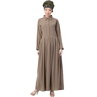 Collared Formal abaya- Beige color