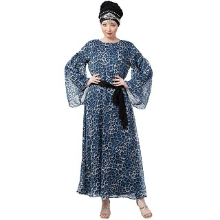 Animal printed double layered abaya