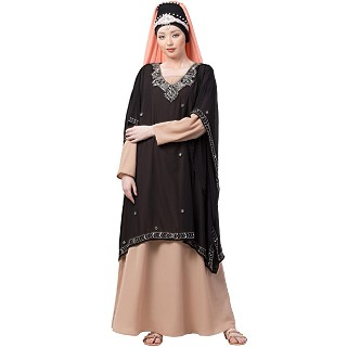 Party wear double layered Embellished abaya- Black-Skin color
