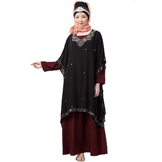 Party wear double layered Embellished abaya- Black-Maroon