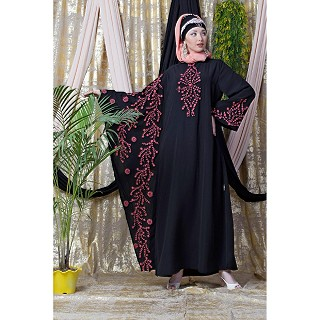 Embroidered abaya with Butterfly sleeves- Black-Coral