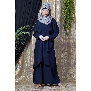 Asymmetrical abaya with overlapped panel- Navy Blue