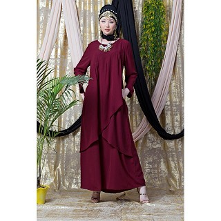 Asymmetrical abaya with overlapped panel- Maroon
