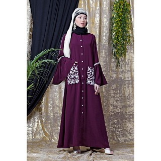 Front open embroidery abaya with Bell sleeves- Purple