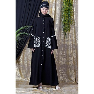 Front open embroidery abaya with Bell sleeves- Black