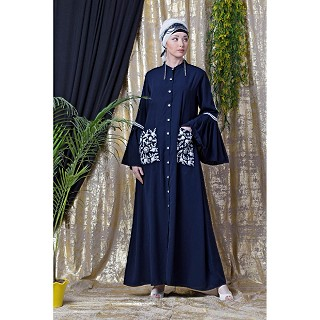 Front open embroidery abaya with Bell sleeves- Navy Blue
