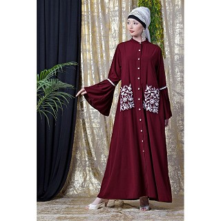 Front open embroidery abaya with Bell sleeves- Maroon