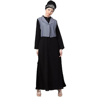 Executive abaya with attached jacket- Grey-Black