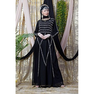 Party wear abaya with hand embroidery work- Black
