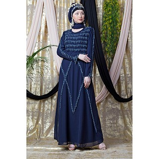 Party wear abaya with hand embroidery work- Navy blue