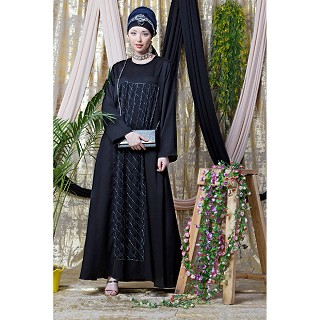 Part wear abaya with stone embroidery work- black
