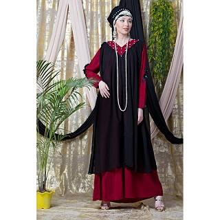 Party wear double layered abaya- Black-Red