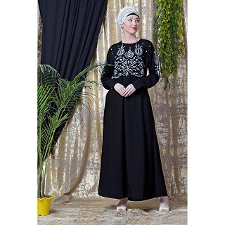 Designer embroidery abaya with cuff sleeves- black-silver