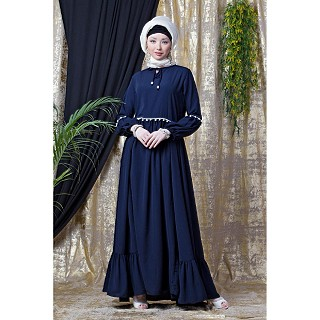 Bohemian frilled abaya- Navy Blue