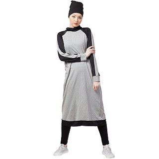 Travel abaya and legging combo- Grey-Black