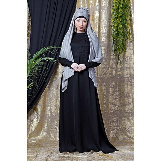 Designer abaya with cuff sleeves- Black