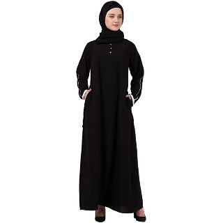A-line abaya with piping at sleeves-Black-white