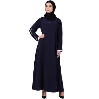 A-line abaya with piping at sleeves-Navy-blue-white