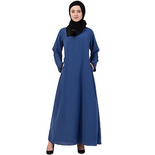 A-line abaya with piping at sleeves-Blue-black